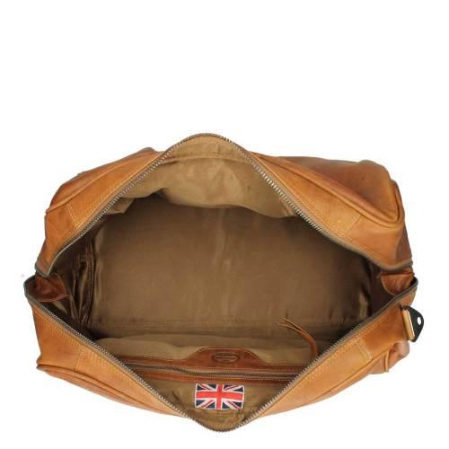 Chesterfield Liam Travelbag cognac – binnenkant