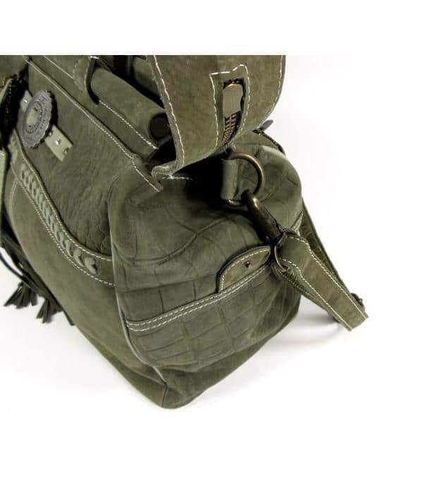 PH&T Handgemaakte reistas weekendtas DOCTOR Army Green – zijkant