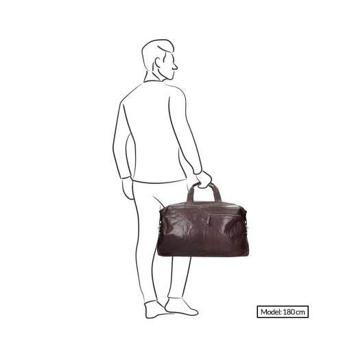 Spikes & Sparrow Bronco Travelbag dark brown – afmeting