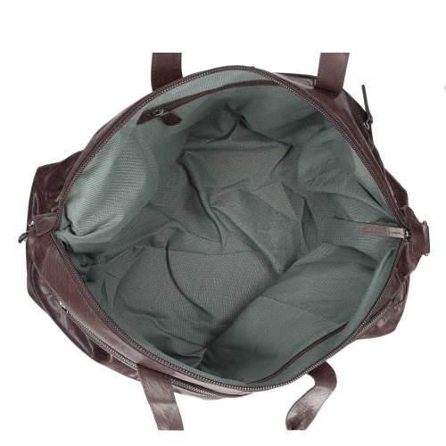 Spikes & Sparrow Bronco Travelbag dark brown – binnenkant